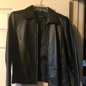 100% leather jacket- Black- size small- worn once